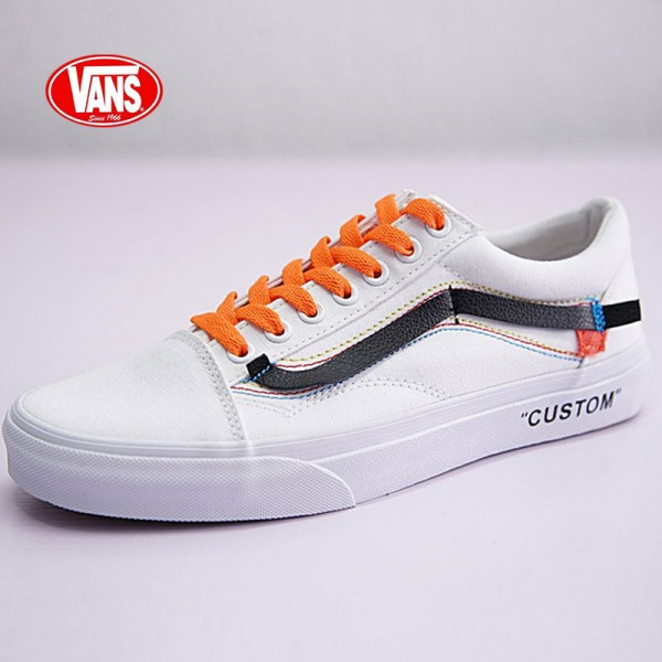Virgil Abloh Off-White x Vans Old Skool 帆布 板鞋 白黑橘 VN-0D3NB99
