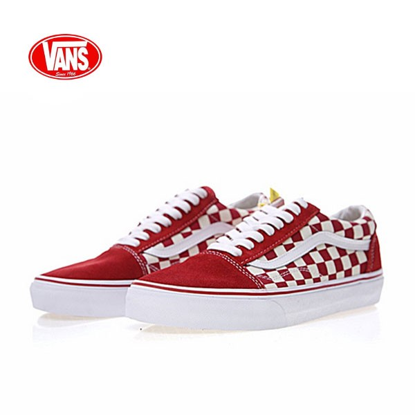 "Vans Old Skool Primary Check 老茱利安系列經典硫化帆布板鞋""紅白格子""VN0A38G1P0T"